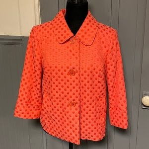 Dialogue Orange-Red Polka Dot 3/4 Sleeve Jacket